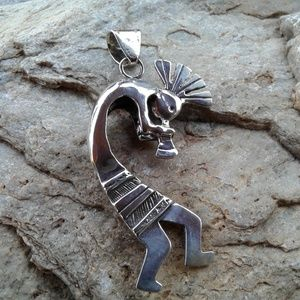 Sterling silver 3D double sided kokopelli pendant